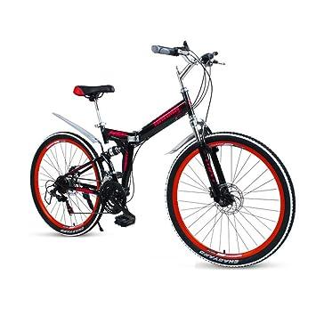 LETFF Bicicleta Plegable para Adultos De 26 Pulgadas, 27 Frenos De Disco De Velocidad Doble