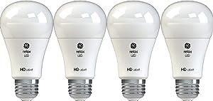 GE Lighting 42977 Relax HD LED (60-Watt Replacement), 800-Lumen A19 Bulb, Medium Base, Soft White, 4-Pack, Title 20 Compliant