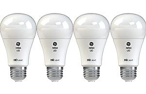 GE Lighting 42975 Relax HD LED (40-Watt Replacement), 450-Lumen A19 Bulb, Medium Base, Soft White, 4-Pack , Title 20 Compliant