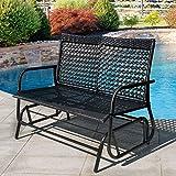 Sundale Outdoor 2 Person Wicker Loveseat Glider Bench Chair Patio Porch Swing with Rocker,Black Wicker