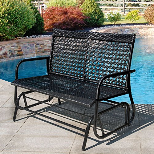 Sundale Outdoor 2 Person Wicker Loveseat Glider Bench Chair Patio Porch Swing with Rocker,Black Wicker by Sundale Outdoor