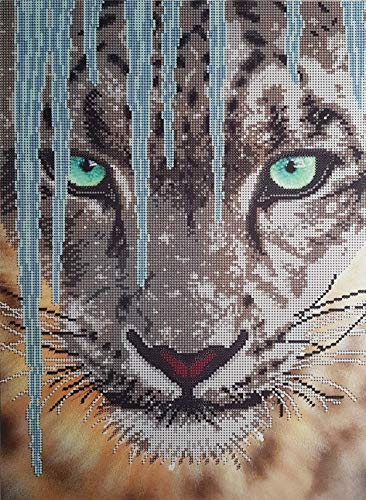 Snow Leopard Bead Embroidery Needlepoint Kit Woodlands Animal Tapestry Beading Pattern Beaded Cross Stitch kit DIY beadpoint Picture kit