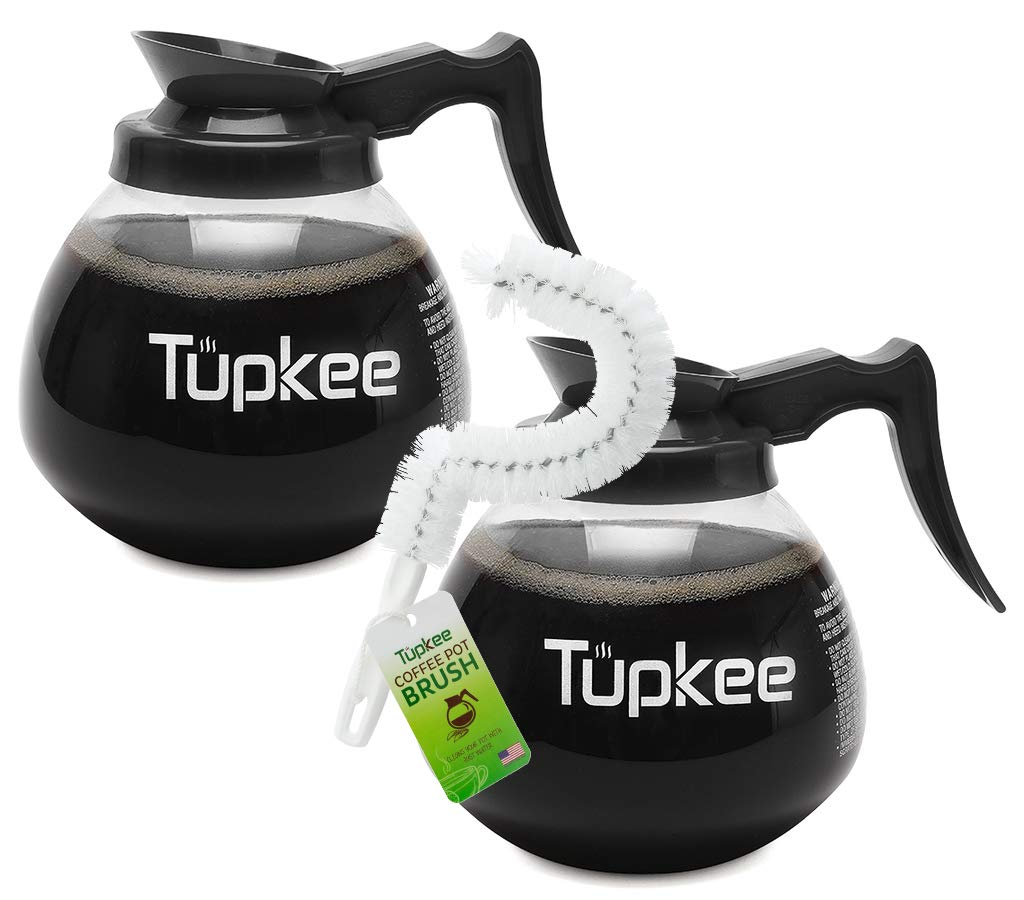 Commercial Coffee Carafe Pot Replacement - Restaurant Glass Decanter - 64 oz 12 Cup, Set of 2 Black Handle, Compatible with Wilbur Curtis, Bloomfield, Bunn | INCLUDES | Coffee Pot Cleaning Brush by Tupkee