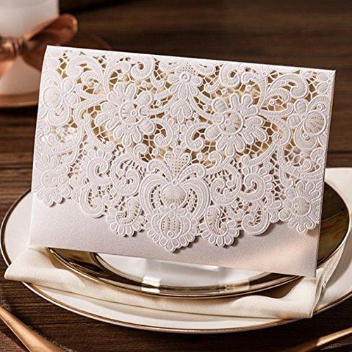 Biglietti di invito per matrimonio tagliati con laser, 20 unità, con fiori in rilievo di colore bianco, con busta abbinata, cartolina inserita e sigillo 20 unità Wishmade