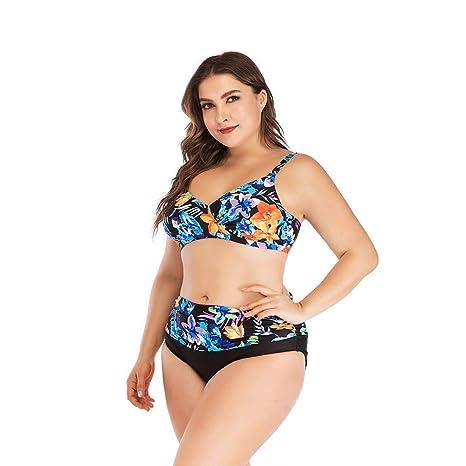 Ladies Floral Print Bikini Set Swimwear Push-Up Padded Top Shirts Swimsuit High Waist Two Piece Beachwear