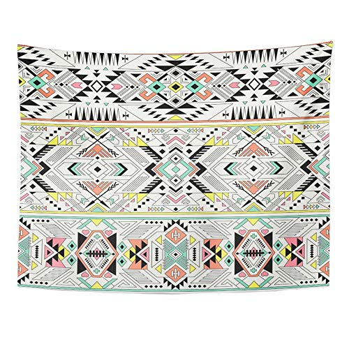 Emvency Tapestry Wall Hanging Pastel Multicolor Tribal Navajo Aztec Fancy Abstract Geometric Ethnic Design Weave 60