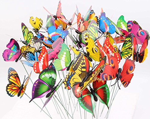 LeBeila Butterfly Garden Ornaments & Patio Décor Butterfly Party Supplies Butterfly Decorations for Outdoor Garden & Flo Butterfly Crafts 48 Pcs Set (Butterfly Patio Set)