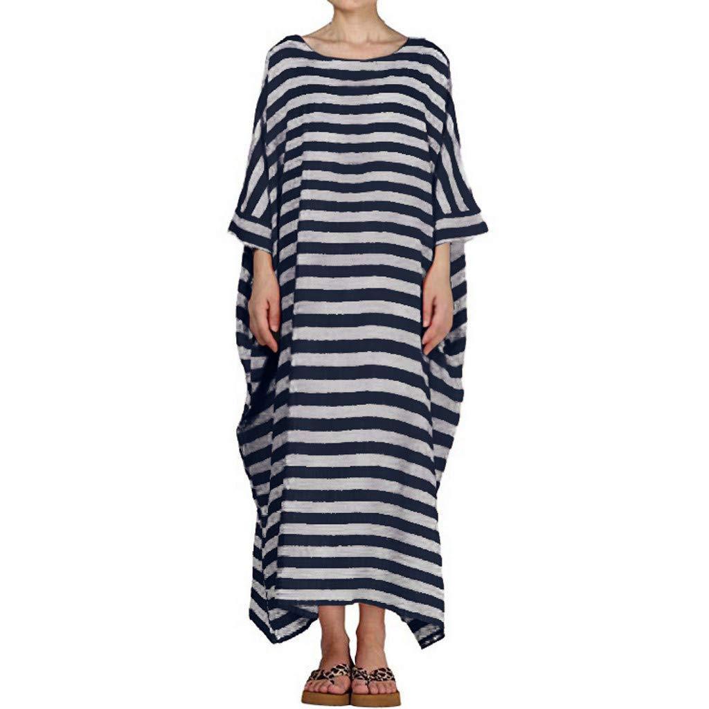 Hot Women Plus Size Solid Color O-Neck Casual Loose Long Maxi Dress Boho Striped Cotton Linen Long Skirt 3/4