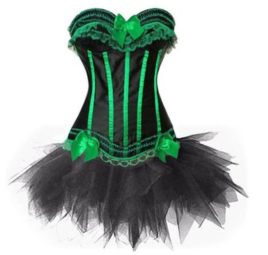 Women's Burlesque Lace up Overbust Corset Bustier Mini Tutu Skirt GoFashion2014 Co. LTD