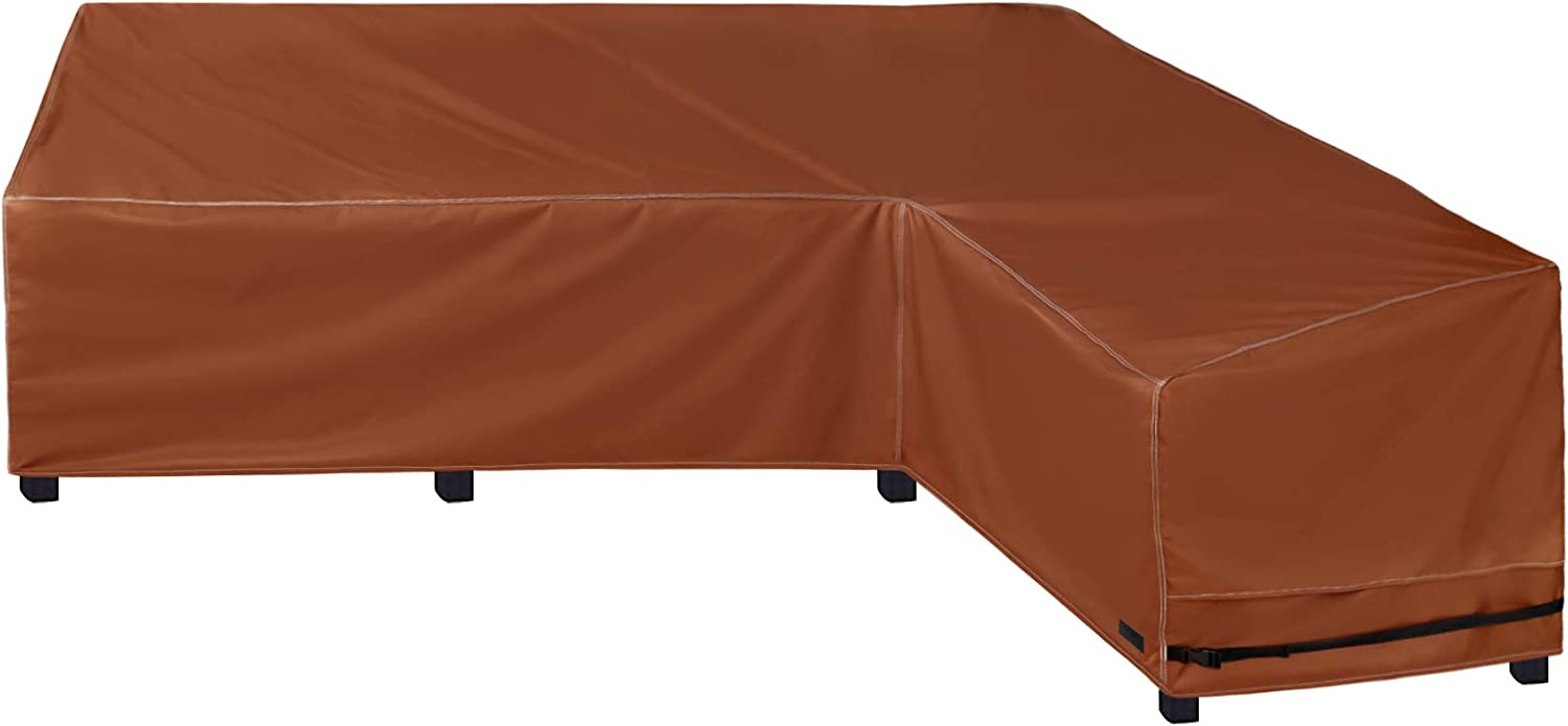 NettyPro Heavy Duty Outdoor Sectional Sofa Cover Waterproof 600D Patio Sectional Couch Cover (L-Shape Right Facing 104x83)