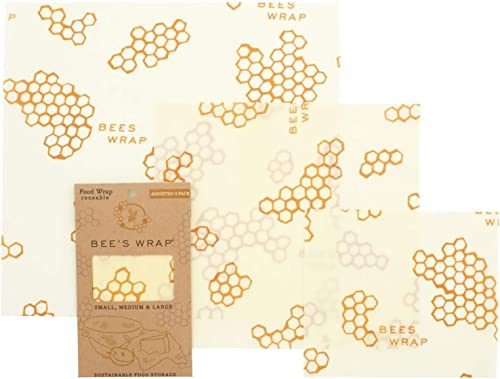 Bee's Wrap Sustainable and Reusable Beeswax Food Wraps with Jojoba Oil