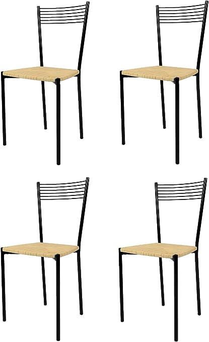 tmcs Tommychairs Set 4 sedie Moderne e di Design Elegance per Cucina, Bar e Sala da Pranzo, con Struttura in Acciaio Verniciata Nero e Seduta in