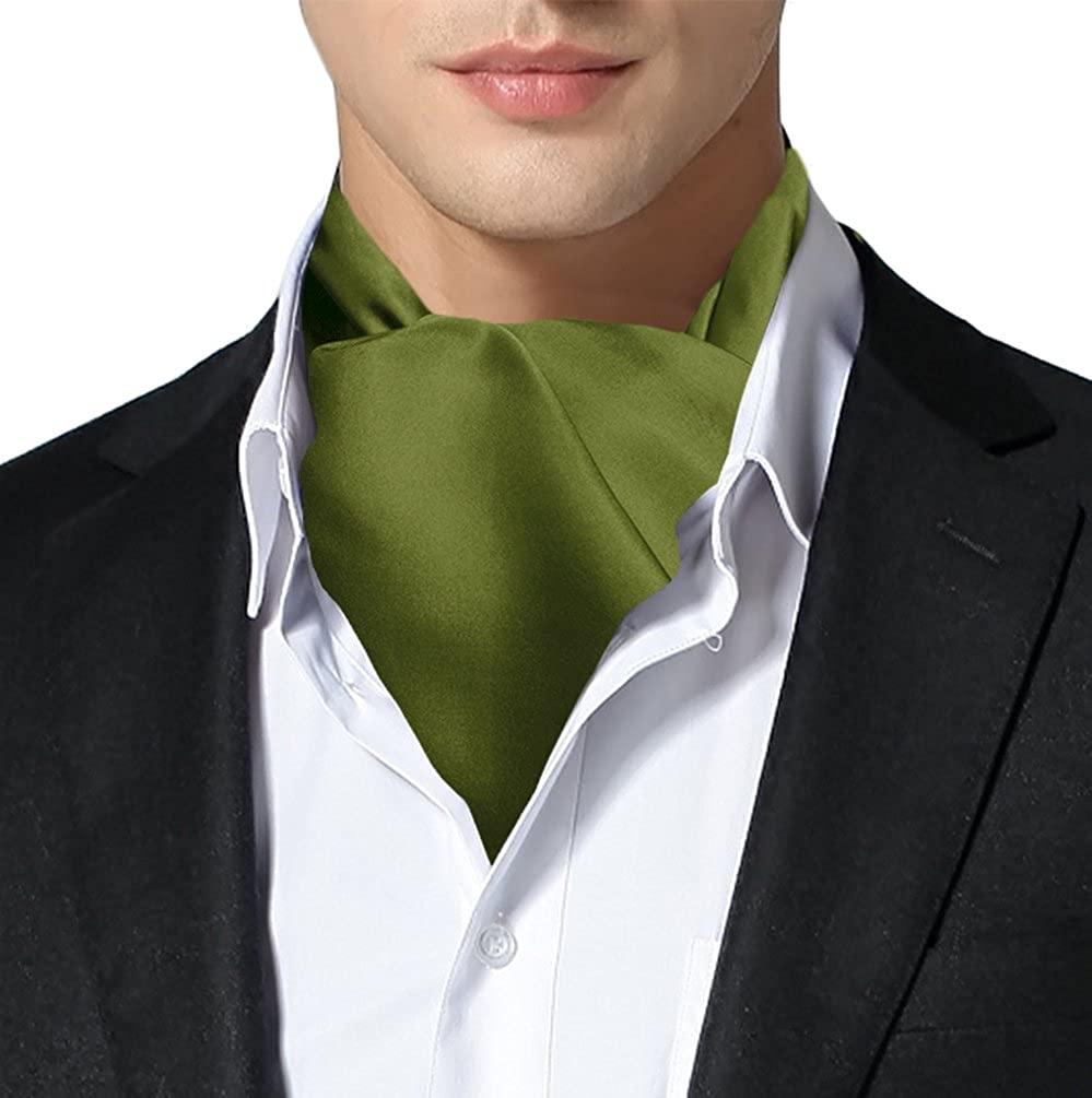 Remo Sartori Made in Italy Mens Solid Self Cravat Ascot Tie,Double Pointed,Silk