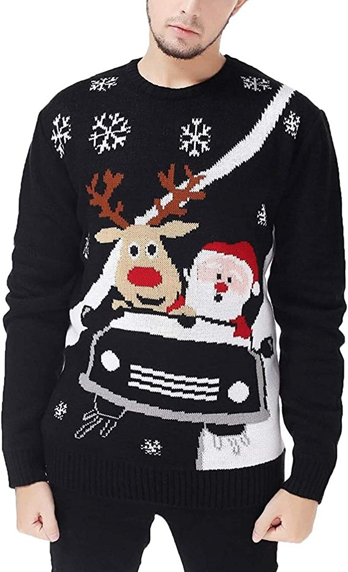 v28 Mens Christmas Reindeer Snowman Penguin Santa and Snowflakes Sweater