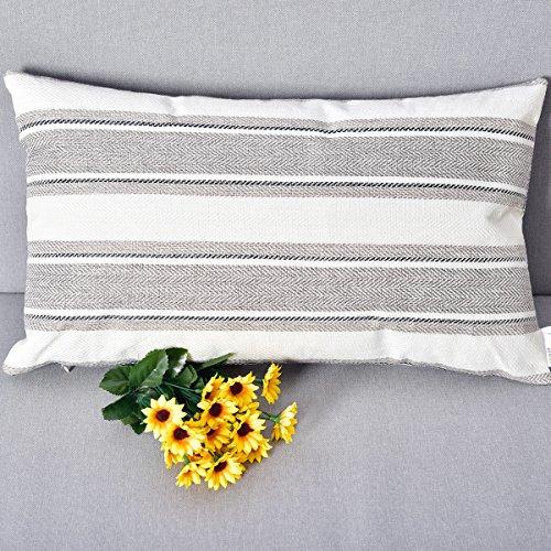 NATUS WEAVER Light Grey Pure White Stripe Pillow Cases Soft Linen Square Decorative Throw Cushion Cover Pillowcase with hidden Zipper for Sofa - 12