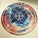 White Twelve Constellations Study Round Rug Soft Comfortable Wearable Easy Clean ( Size : 80 cm diameter )