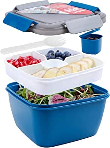 Shopwithgreen 52 OZ to Go Salad Container Lunch Container, BPA-Free, 3-Compartment for Salad Toppings and Snacks, Salad Bowl with Dressing Container, Built-in Reusable spoon, Microwave Safe (Navy)
