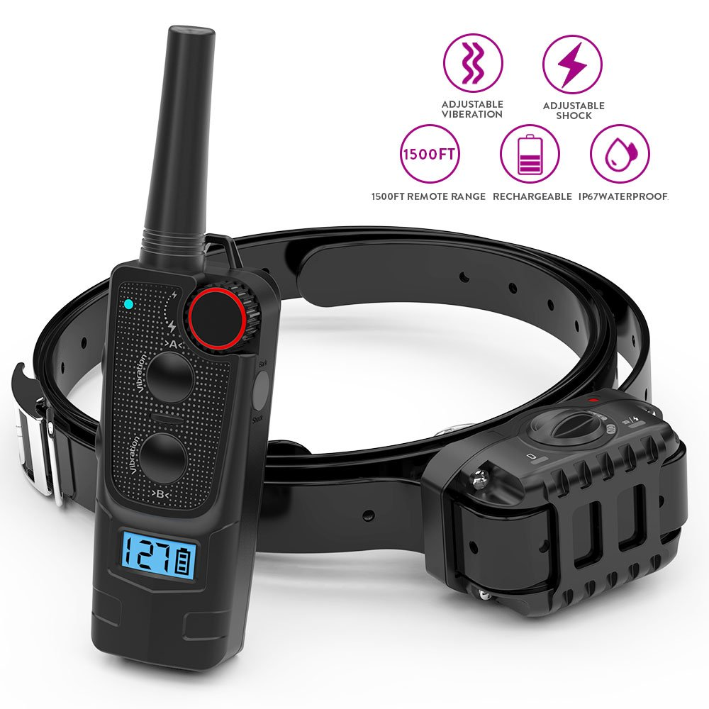 PetFere Dog Training Collar, Dog Shock Collar with Remote Rechargeable IP67 Waterproof No Bark Dog Collar for Small/Medium/Large Dogs