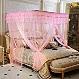 Royal- Fishing Rods Telescopic Mosquito Net Three-door Single Double Encryption Thickening Stainless Steel Bracket ( Color : Pink , Size : 1.5m (5 feet) bed )