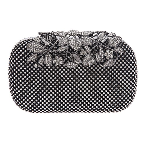 Fawziya Flower Purses With Rhinestones Crystal Evening Clutch Bags-Black