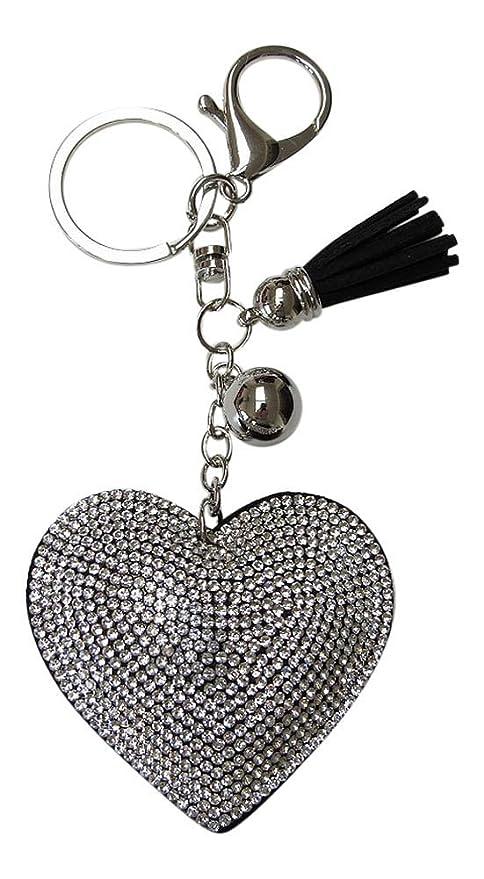 Joya bolsa, llavero corazón strass cristal blanco + pompón ...