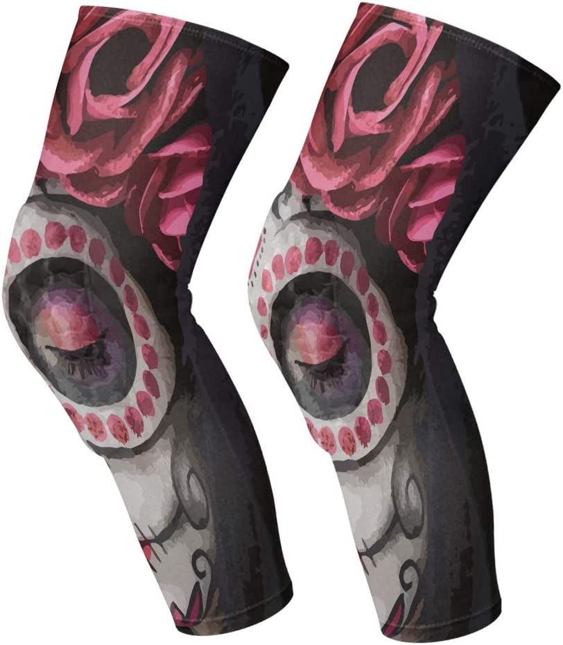allgobee Knee Brace Day of The Dead Sugar Skull Knee Compression Sleeve Support Shin Pads for Running Sports,Sold as Pair