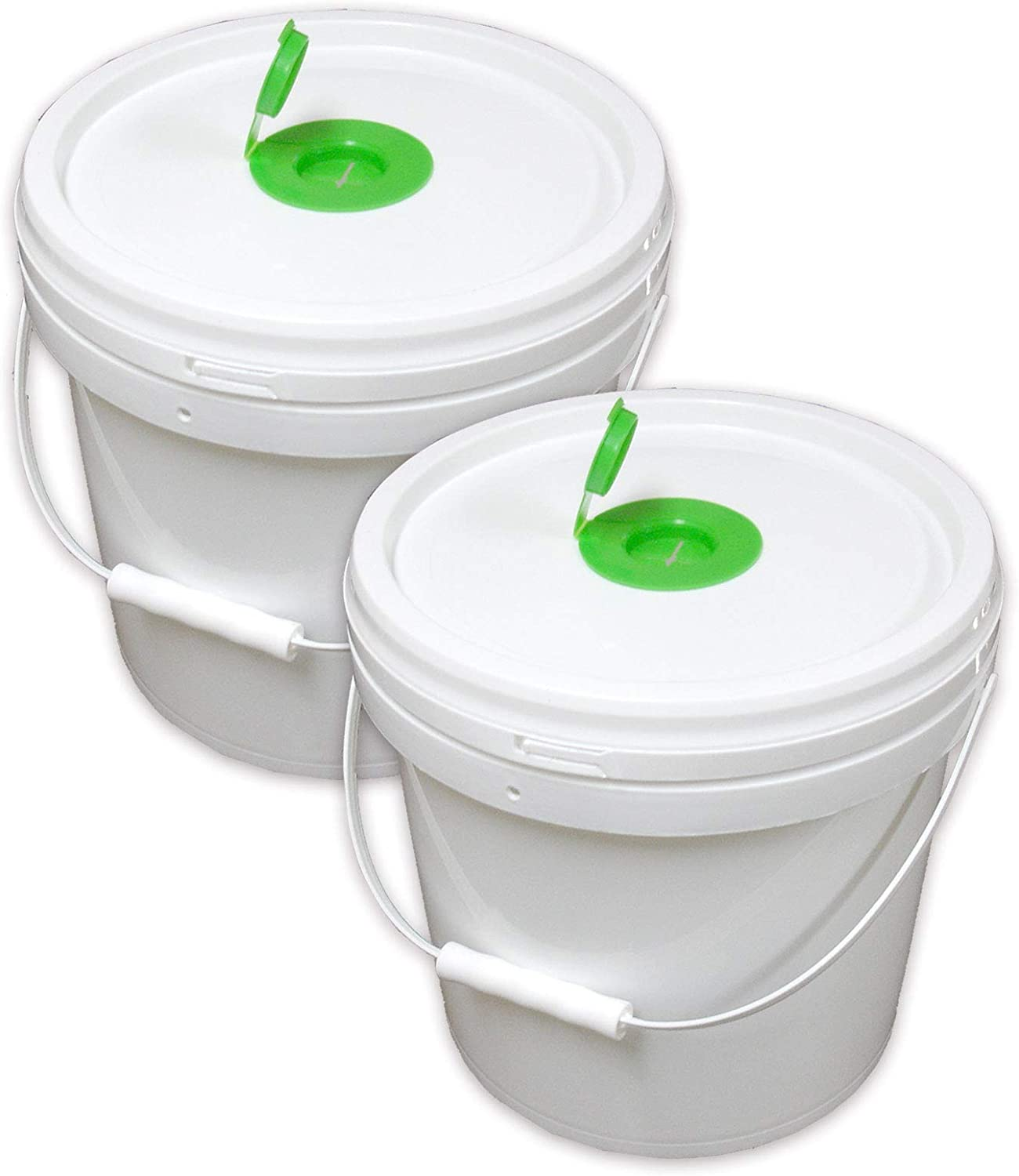 "Texas Ragtime 2 Empty Plastic Buckets Wet Wipe Roll Dispenser with Pop Up Top Reusable Economical for Home and Commercial Use 10"" Height x 10"" Diameter Use with Any Wet Wipe Roll 8 Inches Diameter"