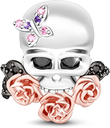 GNOCE Women's Sugar Skull Charm 925 Silver with Butterfly and Rose Gold Flowers Bracelets Charm for Women fit Bracelets Necklaces (Blooming)