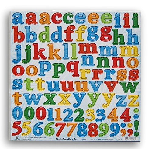 Scrapbook Paper Crafts Alphabet Letters and Numbers Painted Chipboard Die Cuts - 90 Pc