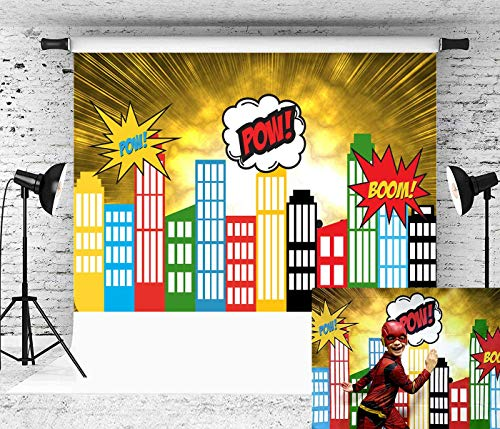 Daniu City Superhero Theme Backdrop Cartoon Superhero Birthday Party Photography Background Boy Photo Studio Shooting Props Kids Artistic Portrait Decoration Supplies 7x5ft Vinyl ()