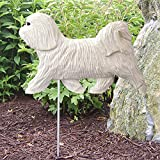 Michael Park Woodcarver Havanese Outdoor Garden Dog Sign Hand Painted Figure White For Sale