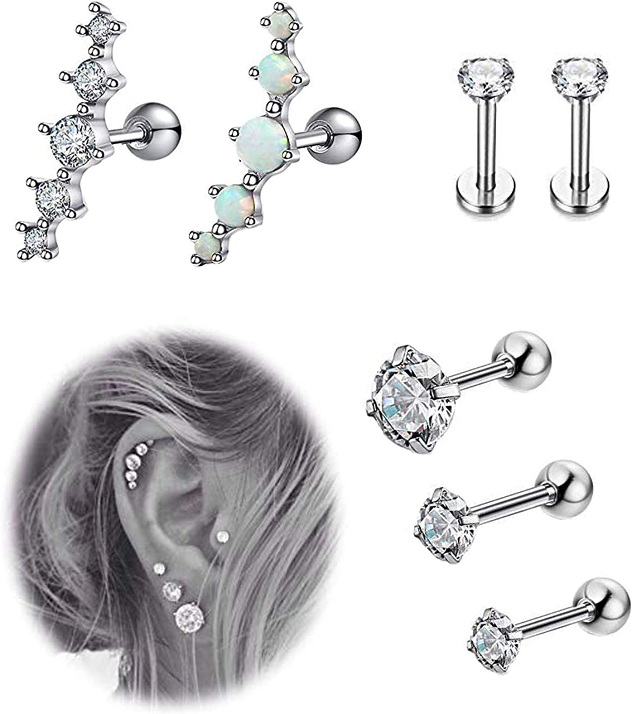 YOVORO 7Pcs 16G Stainless Steel Cartilage CZ Stud Earrings for Women Girls Helix Tragus Daith Piercing Jewelry