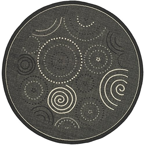 Safavieh Courtyard Collection CY1906-3908 Black and Sand Indoor/ Outdoor Round Area Rug (6'7