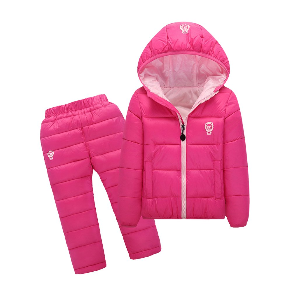 Tortor 1bacha Kid Girl Boy Winter Outfit Hooded Puffer Coat and Pants Set A002