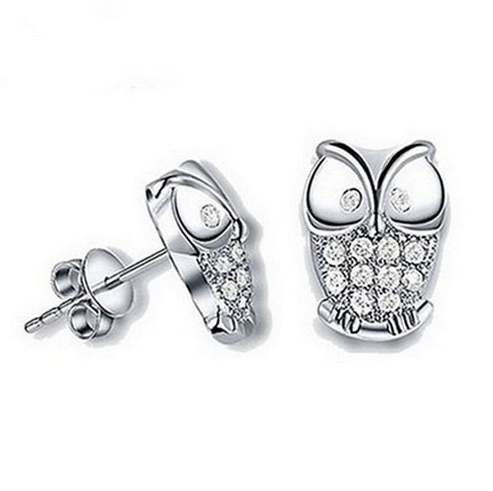 Da.Wa 1 pair Charming Elegant Silver Stud Earrings Cute Owl Shape Crystal Little Earring Jewelry Accessories for Women Christmas Pretty Gifts