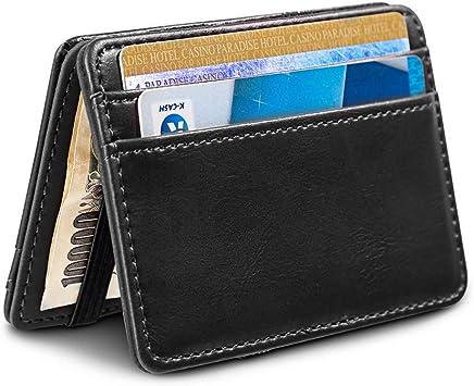 Piel tarjetero para tarjeta de cr/édito y cartera en una en el color de negro