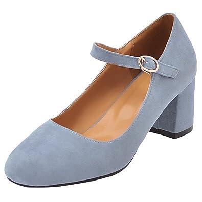 d20a570809b601 AIYOUMEI Damen Knöchelriemchen Pumps mit 5cm Absatz Blockabsatz High Heels  Elegant High Shoes