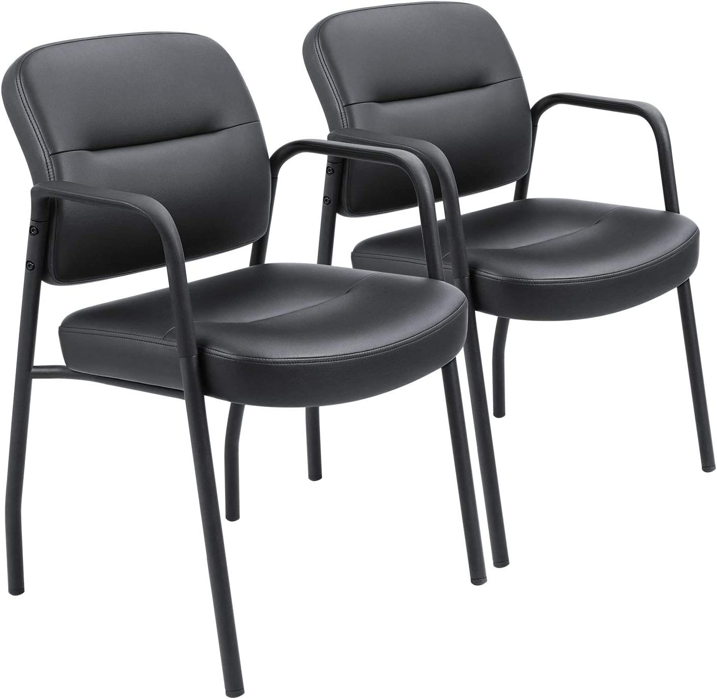 Devoko Office Reception Chairs Executive Leather Guest Chairs with Armrest  Ergonomic Upholstered Lumber Support Side Chairs Set of 5 (Black)