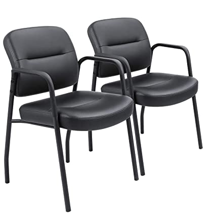 amazon com devoko office reception chairs executive leather guest chairs with armrest ergonomic upholstered lumber support side chairs set of 2 black