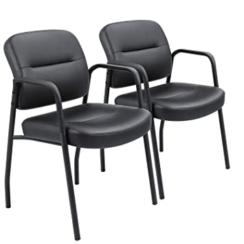 the best attitude 621dd 9be2d Devoko Office Reception Chairs Executive Leather Guest Chairs with Armrest  Ergonomic Upholstered Lumber Support Side Chairs Set of 2 (Black)