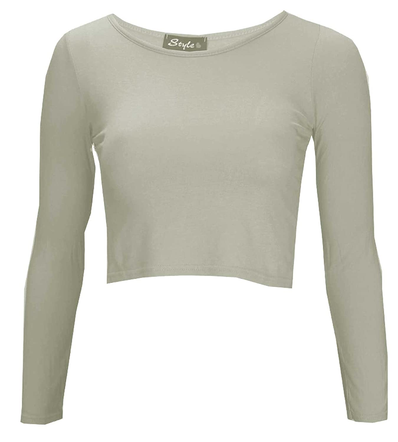 NEW WOMEN LADIES ROUND NECK LONG SLEEVE CROP TOP PLAIN T SHIRT SIZE 8-14