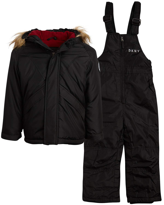 DKNY Boys 2-Piece Puffer Ski Jacket and Insulated Snowbib Snowsuit Set, Size 24 Months, Black' by DKNY