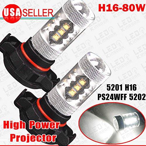 2X Super Bright White 80W High Power H16 5202 Fog Driving Light Bulbs PS24W 5201 (H16 Blue Fog Light Bulb)