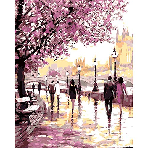 YEESAM ART New DIY Paint by Number Kits for Adults Kids Beginner - Cherry Blossoms Park, Romantic Flowers Street 16x20 inch Linen Canvas - Stress Less Number Painting Gifts (Park, Without Frame)]()