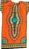 RaanPahMuang Brand Child Dashiki Colors Afrikan Full Kaftan Throw Over Outfit, 8-10 Years, Orange