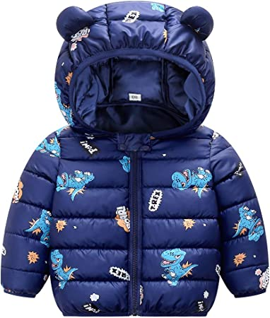Baby Winter Puffer Jacket Infant Hoodie Coat Autumn Warm Lightweight Padded Windproof Outfits Blue 6-12 Months