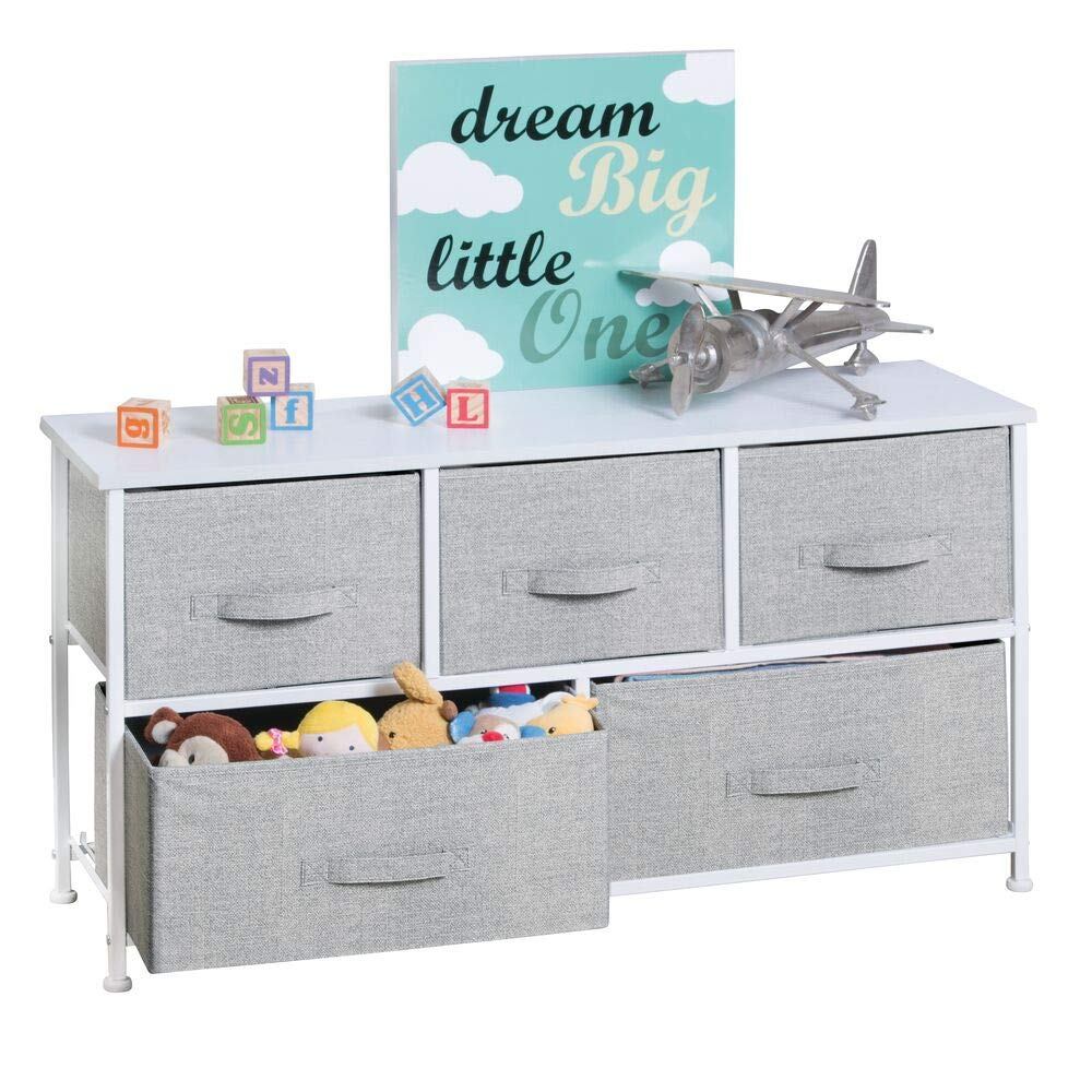 mDesign Extra Wide Dresser Storage Tower - Sturdy Steel Frame, Wood Top, Easy Pull Fabric Bins - Organizer Unit for Child/Kids Bedroom or Nursery - Textured Print - 5 Drawers - Gray/White by mDesign