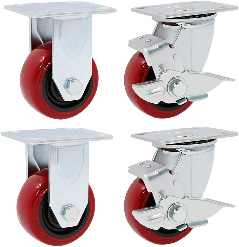 Ruedas giratorias de la placa giratoria 4pcs v/ástago roscado de la rueda giratoria industrial resistente del ajuste del nivel para el remolque industrial o los muebles caseros grandes