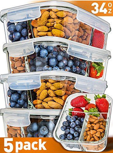 [5-Pack] Glass Meal Prep Containers 3 Compartment - Bento Box Containers Glass Food Storage Containers with Lids - Food Prep Containers Glass Storage Containers with lids Lunch Containers ()