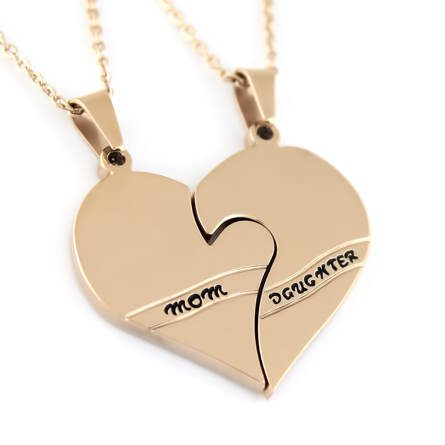 Amazon mother daughter pendant necklace rose gold tone mom amazon mother daughter pendant necklace rose gold tone mom daughter broken heart necklace jewelry aloadofball Choice Image